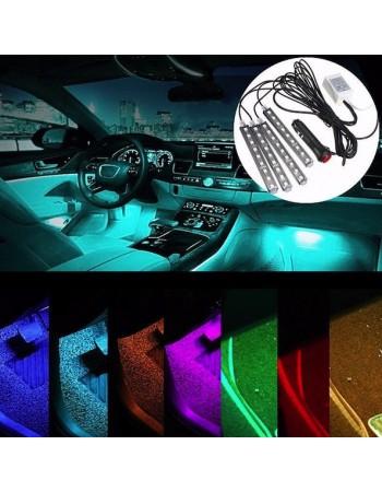 Set 4 benzi LED cu lumina ambientala auto RGB cu telecomanda